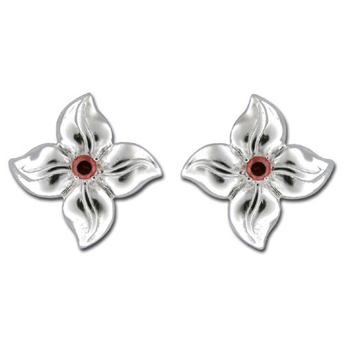 Sterling Silver Four Petal Flower with Ruby Red CZ Earrings