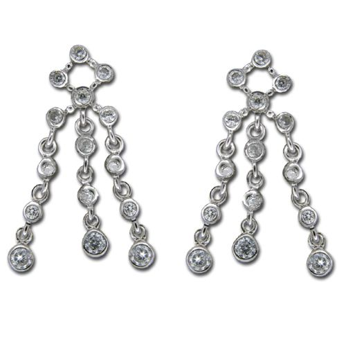 Sterling Silver Clear CZ with 3-Strand Dangle Earrings