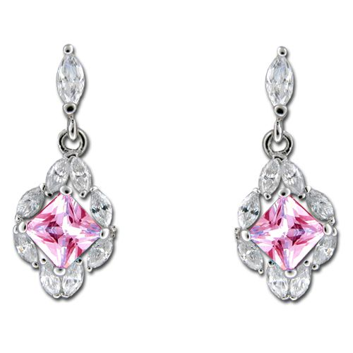 Sterling Silver CZ Leis with Oval Shaped Tourmaline Pink CZ Drop Earrings