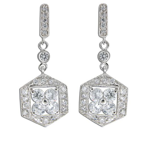 Sterling Silver Fine Engraved Hexagon with Clear CZ Drop Earrings