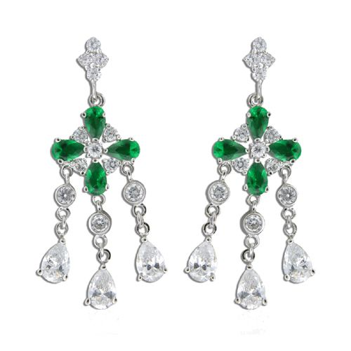 Sterling Silver Four Petal Flower with Emerald Green CZ and Clear CZ Drop Earrings
