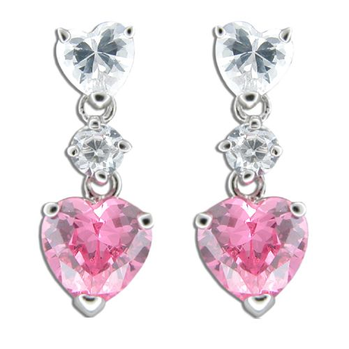 Sterling Silver Clear and Pink Tourmaline CZ Double Heart Drop Earrings
