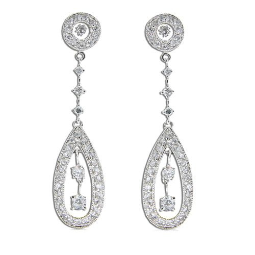 Sterling Silver Vintage-Style Teardrop with Clear CZ Drop Earrings