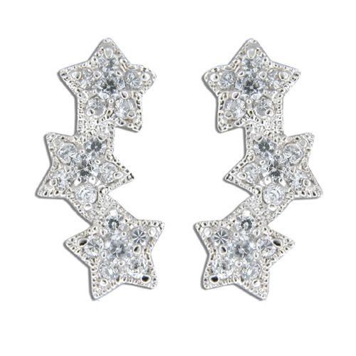 Sterling Silver Triple Star with Clear CZ Earrings