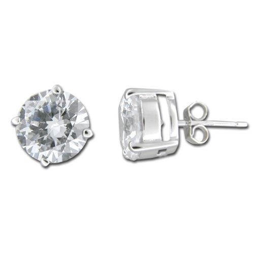 Sterling Silver 8mm Round Cut Clear CZ Earrings