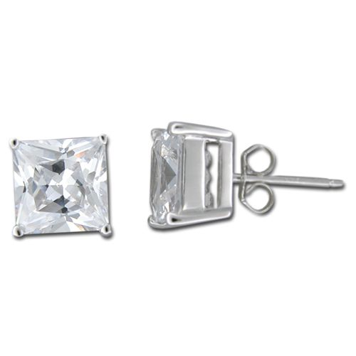 Sterling Silver 3/8 in by 3/8 in Square Cut Clear CZ Earrings