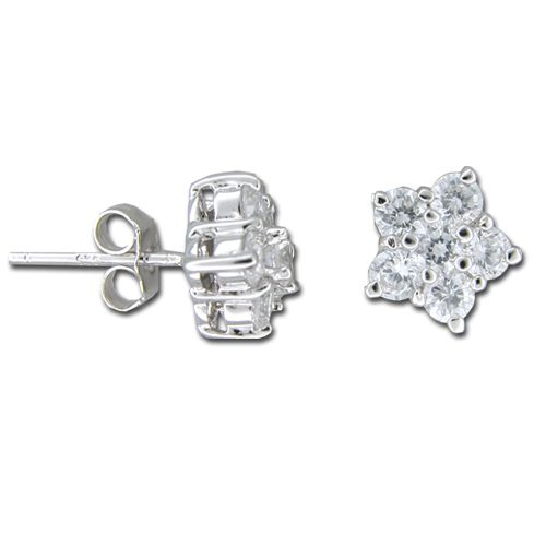 Sterling Silver Five Petal Flower with Clear CZ Earrings