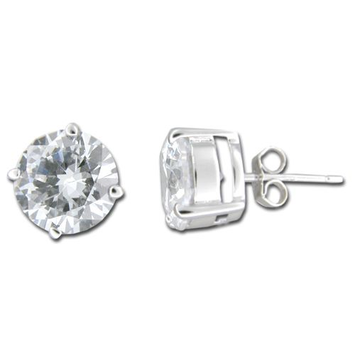 Sterling Silver 10mm Round Cut Clear CZ Stud Earrings