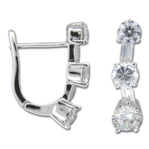 Sterling Silver Triple Round-Cut Clear CZ Latch Back Earrings