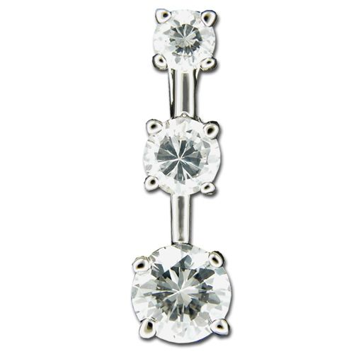 Sterling Silver Three Clear CZ Pendant