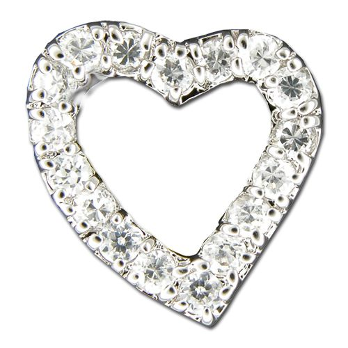 Sterling Silver Open Heart with Clear CZ Pendant
