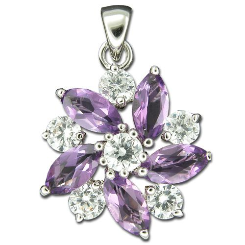 Sterling Silver Flower Design with Clear and Amethyst Purple CZ Pendant