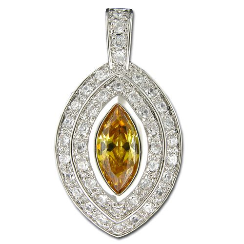 Sterling Silver Marquise Shaped Citrine Yellow CZ with Channel Set Clear CZ Pendant