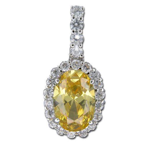 Sterling Silver Oval Shaped Citrine Yellow CZ and Clear CZ Pendant