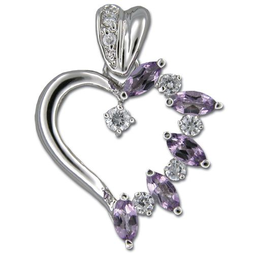 Sterling Silver Fancy Heart with Amethyst Purple CZ Pendant