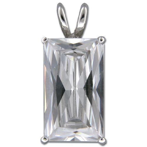 Sterling Silver Minimalist Emerald-Cut Clear CZ Pendant