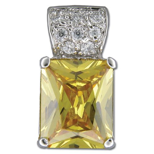 Sterling Silver Rectangular Shaped Citrine Yellow CZ Pendant