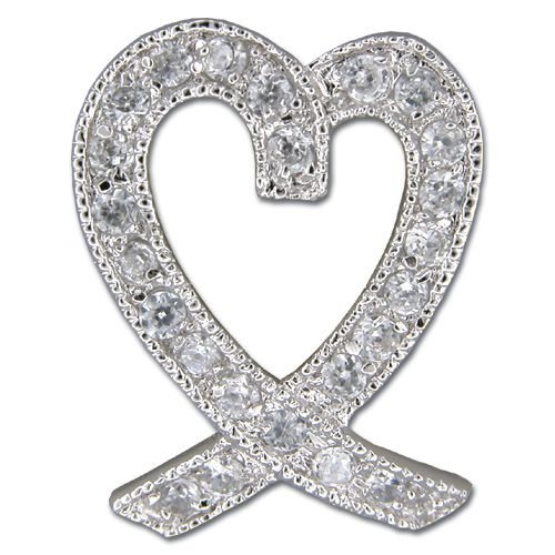 Sterling Silver Ribbon Heart with Clear CZ Pendant