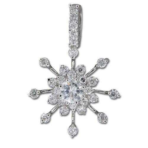 Sterling Silver Snowflake Design with Clear CZ Pendant