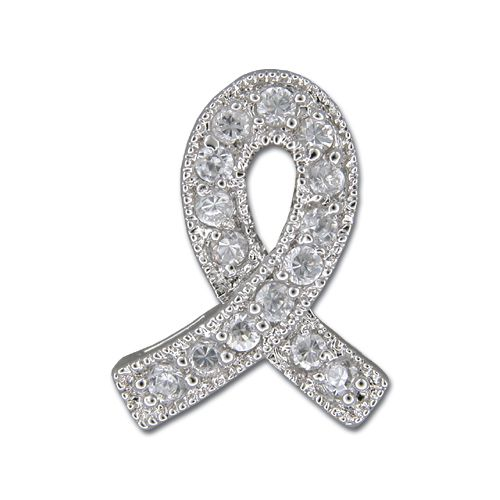 Sterling Silver Ribbon Design with Clear CZ Pendant