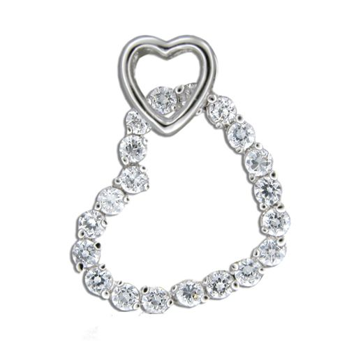 Sterling Silver Channel Set Clear CZ Heart Link Pendant
