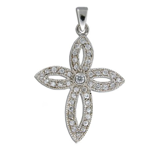 Sterling Silver Vintage Cross with Channel Set Clear CZ Pendant