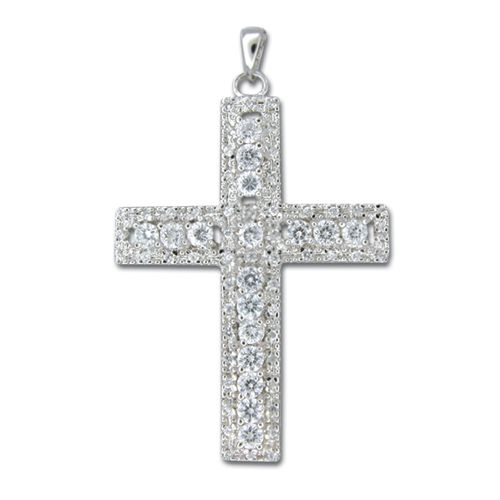 Sterling Silver Cross with Channel Set Clear CZ Pendant