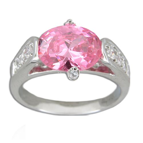 Sterling Silver Oval Shaped Pink Tourmaline CZ with Channel Set Clear CZ Ring