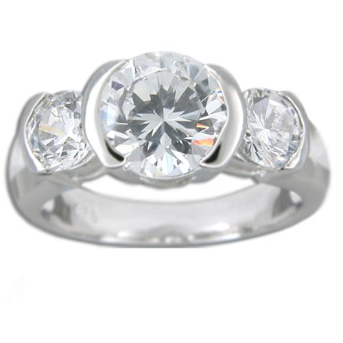 Sterling Silver Triple Round-Cut Clear CZ Ring