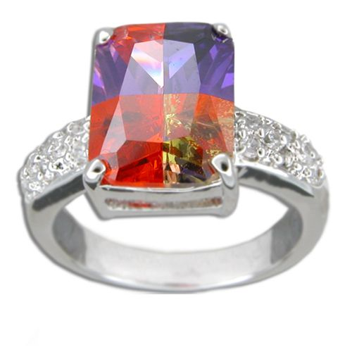 Sterling Silver Square-Cut Rainbow Color CZ with Clear CZ Band Ring