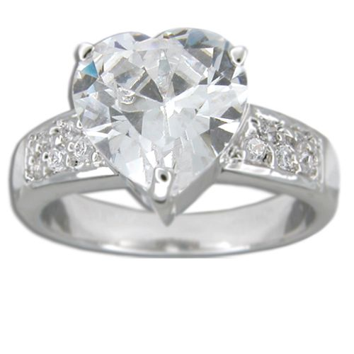 Sterling Silver Heart Shaped Clear CZ Ring