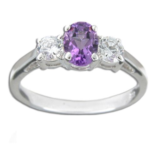 Sterling Silver Oval Shaped Amethyst Purple CZ with Clear CZ Ring