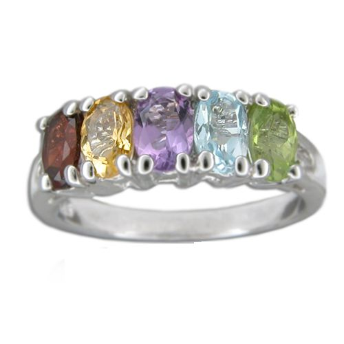 Sterling Silver Oval Shaped Multi-Color CZ Ring