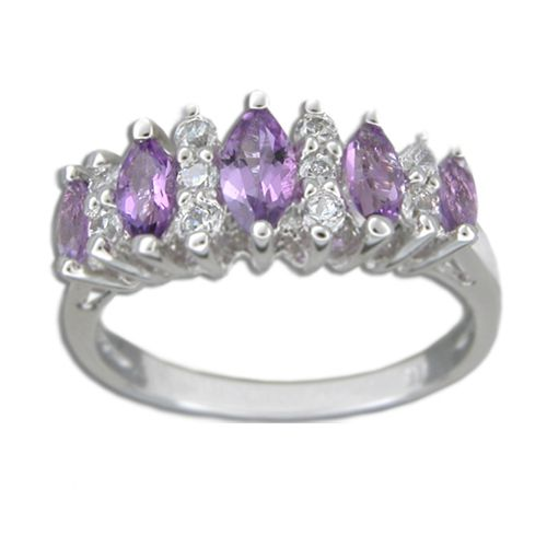 Sterling Silver Marquise Shaped Amethyst Purple CZ and Clear CZ Ring