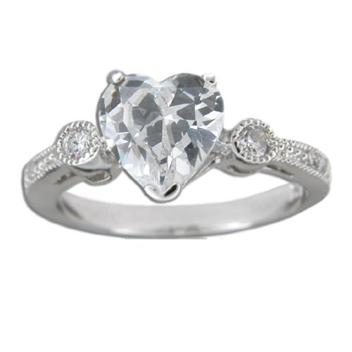 Sterling Silver Heart Shaped Clear CZ with Channel Set Clear CZ Ring