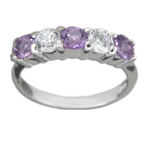Sterling Silver Round-Cut Amethyst Purple CZ and Clear CZ Ring