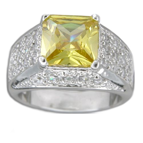 Sterling Silver Vintage Design with Square-Cut Citrine Yellow CZ Ring