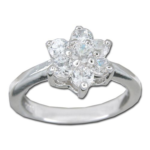 Sterling Silver Flower Design with Clear CZ Ring