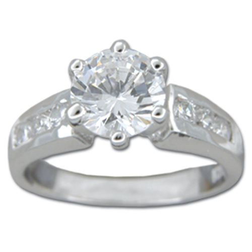 Sterling Silver Round-Cut Clear CZ with Channel Set Clear CZ Engagement Ring