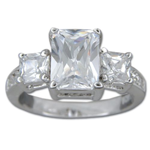 Sterling Silver Minimalist Triple Rectangular shaped Clear CZ Ring