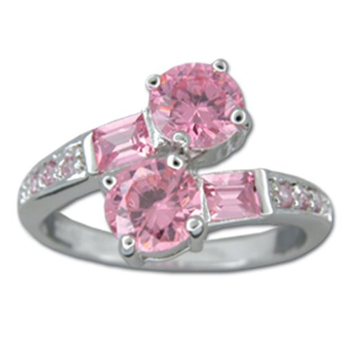 Sterling Silver Double Round-Cut Pink Tourmaline CZ Wrap Ring
