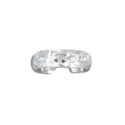 Sterling Silver Hawaiian Plumeria and Scroll Toe Ring