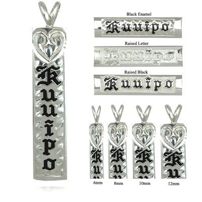 Sterling Silver Name Drop Hawaiian Pendant with Hand Carved Heart