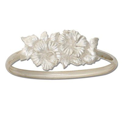 Sterling Silver Double Hawaiian Hibiscus Design Bangle with Open Clasp