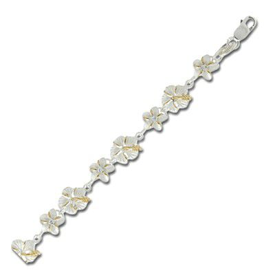 Sterling Silver Two Tone Hawaiian Hibiscus and Plumeria Design Bracelet