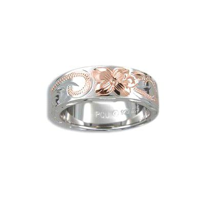 Fine Engraved Sterling Silver Plumeria and Scroll Ring