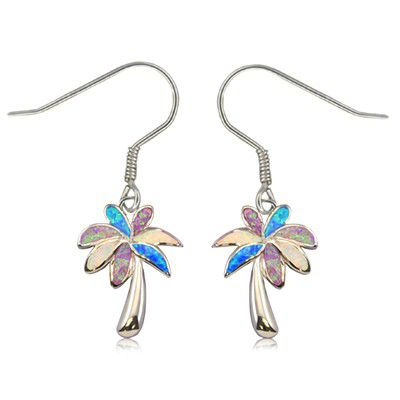 Sterling Silver Hawaiian Rainbow Opal Palm Tree Earrings with Fish Wires