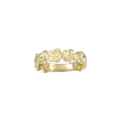 14kt Yellow Gold Hawaiian 4mm Cut-Out Plumeria Ring