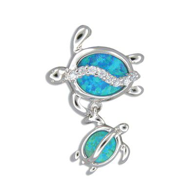 Sterling Silver Hawaiian Mother and Baby Honu Blue Opal Pendant