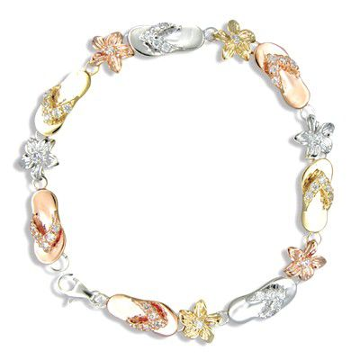 Sterling Silver Hawaiian Tri-Color CZ Slipper and Plumeria Bracelet